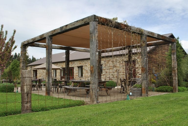 Large Pergola made of rustic timber