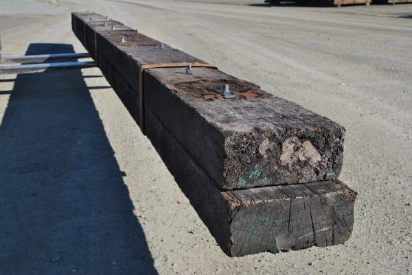side close up of rustic hardwood beam