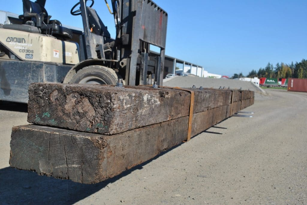 side view of long rustic hardwood beam