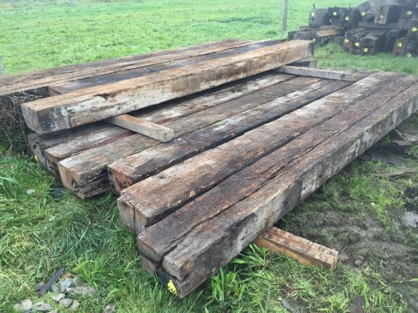long rustic beams laid out together
