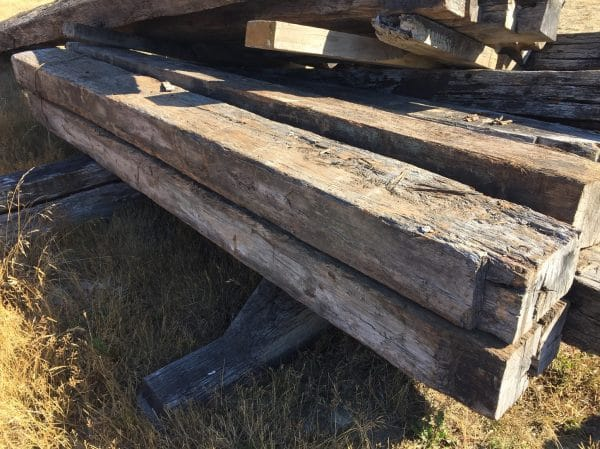 side view of large rustic beam