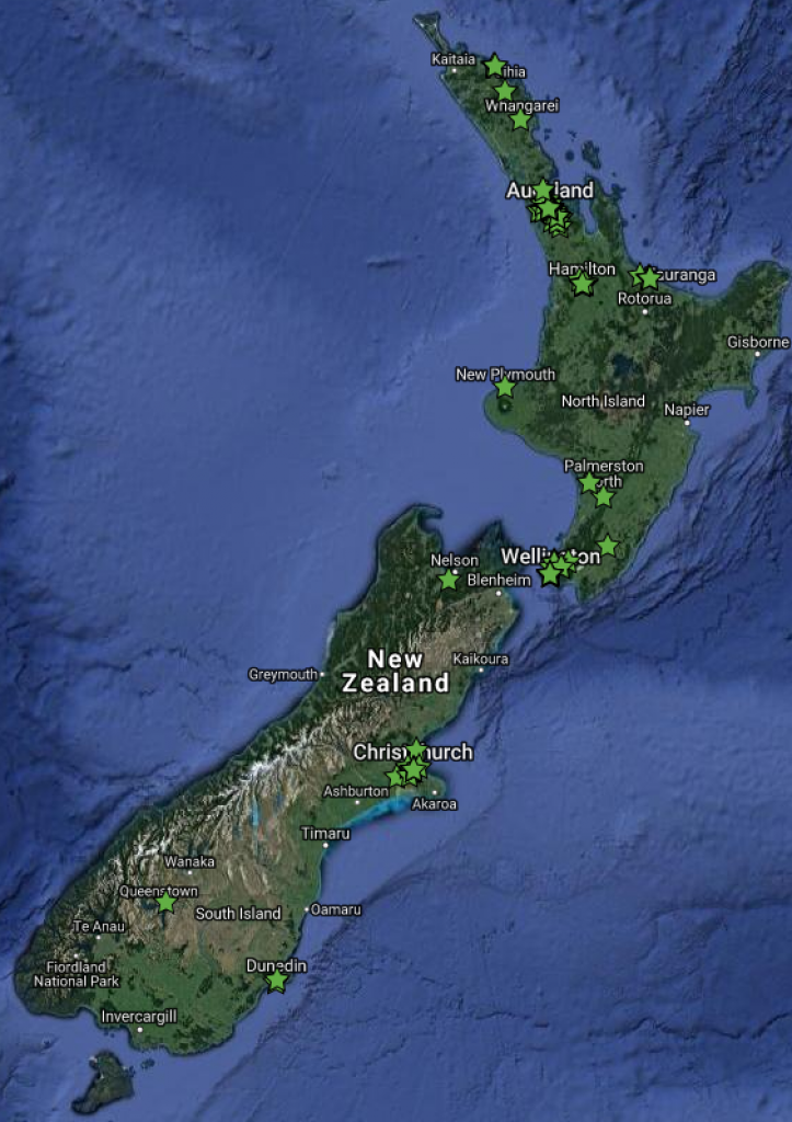 Map of New Zealand with Green Building locations