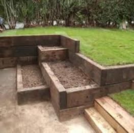 tiered box garden from railway sleepers
