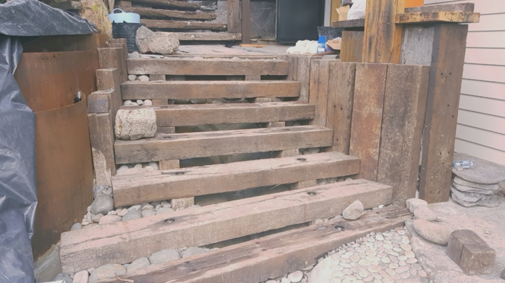 staircase with railway sleepers and rusty steel