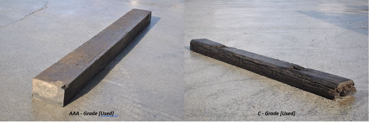 high and low graded railway sleepers on wet concrete