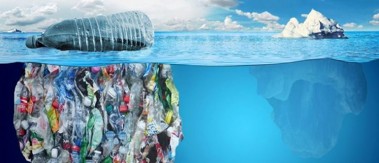 plastic rubbish iceberg floating in sea